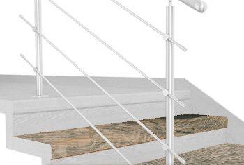 FLEX Dub šedý 1200 x schodový nášlap, vruty a vyrovnávací lišta
